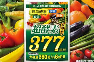 84%OFF【1,300円】≪☆送料無料☆健康習慣が気になる方に!! 野菜・野草・果物など、なんと377種もの酵素をギュッと1粒に♪製薬会社が作った本気の濃い粒「超酵素377(約6ヵ月分360粒)★☆」≫