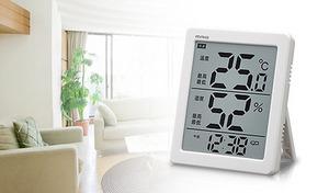【60%OFF】夏に役立つデジタル温湿計。温度湿度表示で環境の変化がわかりやすい《温湿計 エアサーチノーティス》夏場の熱中症、省エネ対策に