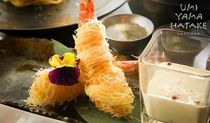 """【55%OFF/プレミアムレモンサワー付き】まさに""""食の日本旅行""""。地域色の濃い食材や調理法を組み合わせた、新しい食体験ができるフードトリップ・ダイニング《シャトーブリアンの天麩羅など/雅コース+レモンサワー》"""