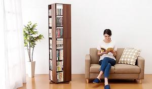 【送料込み/3色展開】圧倒的な収納力でありながら、新聞紙約1枚分のスペースに設置可能なサイズ。文庫本などの書籍から、CD、DVDまでも収納可能《回転マルチラック7段》