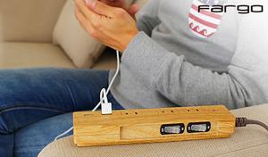 【2色展開】木の温もりが感じられる木目模様のACタップ。USB差し込み口付きで、USB充電コードからもスマホの急速充電が可能《個別スイッチ&USB付き3くちACタップ》