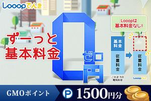 ≪ ☆ずーっと基本料金0円☆ 電気代の削減と安定収入!「LOOOPでんき 」≫お申込みでGMOポイント1,500円分