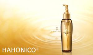 【50%OFF】累計出荷数210万本を超える大人気ヘアオイルがバージョンアップ《ハホニコ 16油シャイニー 120mL》厳選した16種類の天然オイルを配合。ベタつかずサラッとした使い心地で、うるおいのある艶髪へと導く