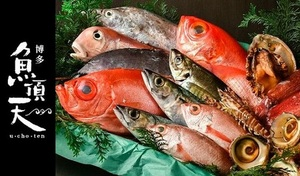 """【120分飲み放題/旬の魚介多数使用の8品】鮮度に自信あり。九州近海の鮮魚と「一""""魚""""一会」の出会いに感動。マダイ、いくら、ヒガンフグ、エビなど海鮮尽くし《コース全8品+飲み放題》デートやお祝い、宴会にもおすすめ"""
