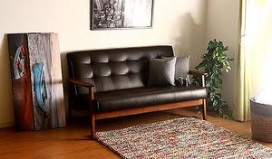 【送料込み】レトロな風合いとナチュラルな木製フレームが雰囲気たっぷり《バイキャストPUソファー フレンズ2P DBR》ゆったりと快適な座り心地。リビングや書斎などに