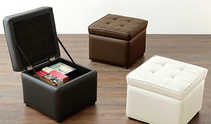 【送料込み/5色展開】座面下に収納スペースのあるスツールでお部屋の片づけも簡単。耐荷重約80kgと頑丈な木枠構造を採用《収納BOX スツール 1人掛け》