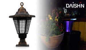 【電気代0円】暗くなると自動で点灯するソーラー式。虫をUV球で誘引し、退治する「殺虫モード」と間接照明としても使える「照明モード」にも切り替えが可能《ソーラー充電式殺虫ガーデンライト DE-001》