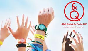 【送料込み/9色展開】音楽フェスをイメージしたグラデーションカラーがクールなデザイン。光発電でメンテナンス不要のエコ・フレンドリーな腕時計《Q&Qスマイルソーラー Series 006》