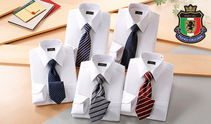 【5サイズ展開】女性目線でセレクトした清潔感あるデザイン。スーツにも合わせやすく、スマートな印象に《銀座・丸の内のOL100人(R)が選んだワイシャツ&ネクタイセット(ホワイト系)》