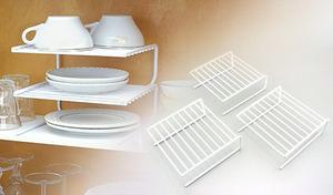 【10点セット】キッチンの片付けが苦手な方にもおすすめ。置くだけ簡単《キッチンすっきり収納セット》食器棚やシンク下などのスペースを棚に変えるスペースラックと、お皿を立てて収納できる収納ラックをセットでお届け