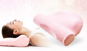 年齢を感じさせる首のシワ対策に。首筋を伸ばすポール型形状で顔や首にかかる負担を軽減して、美しいネックラインを目指す《寝ながらリンクルケア美容枕》
