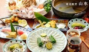 【50%OFF/ドリンク1杯/飲み放題特典あり】昭和48年創業の老舗割烹で、旬のふぐ三昧。鮮度抜群の魚介と職人技が織りなす握りも堪能《旬なふぐを使用した会席コース》ふぐ刺し、ちり鍋、天ぷら、から揚げなど