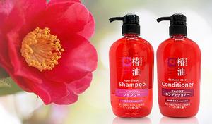 【600mL×2本セット】温泉水と椿油のブレンドで、髪が安らぐラグジュアリー。しっとりまとまる自慢のツヤ髪。肌に優しい弱酸性《椿油シャンプー&コンディショナー》