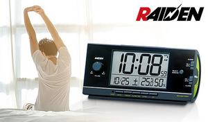 【3色展開】圧倒的な大音量でしっかりと目覚められる。温度・湿度が表示されて健康管理にも便利。バラエティ豊かな12種のアラーム音搭載《ライデン電波目覚まし時計 NR534》