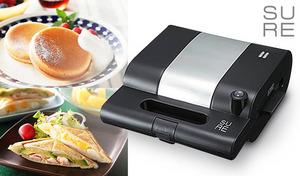 料理が得意でない方でも、ボタン1つでキレイにホットサンドが焼ける。焼き過ぎを防ぐサーモスタット内蔵。キッシュやフレンチトーストなども簡単に《SURE モテナシベーカー SMS-802S》