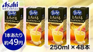 ≪賞味期限間近の為、1本あたり約49円!!≫手軽に味わう、果実の贅沢。『【アサヒ飲料】バヤリース とろけるミックスフルーツ (LL)紙パックスリム250ml ×48本』が送料・税込2,350円!もも・マンゴー・バナナのミックスフルーツ果汁を10%使用!