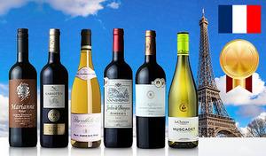 【送料込み】フランスのさまざまな銘醸地が誇る赤ワイン・白ワインを優雅に飲み比べ。選び抜かれた上質な味わいを贅沢に堪能《フランス 銘醸地金賞ワイン 飲み比べ6本セット》
