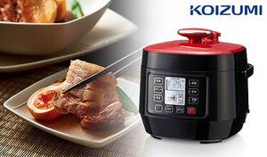 ほろほろの柔らかい角煮やふわふわのケーキも簡単操作で調理可能。煮込みも炊飯もこなすマルチなアイテム。保温タイマー付きで、いつでも温かい料理を楽しめる《マイコン電気圧力鍋 KSC-3501/R》