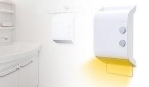 脱衣所を暖めて、お風呂上りも暖かく。ハンガー掛け、壁掛け、横置きと3通りの設置が可能《脱衣所ヒーターMA-745》部屋干しの乾燥にも役立つ1台