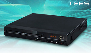 幅22.5cm、高さ約4.7cmのコンパクトな大きさ。USBメモリやSDカードの画像・音声ファイルも鑑賞できる《HDMI端子付 高画質DVDプレーヤー DVD-H225-BK》