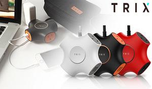【3色展開】デザイン重視の「カッコいい電源タップ」。スマートフォンの充電にも最適なUSBポート2口+コンセント3口でデスク周りをスタイリッシュに演出《TRIX》外出先や出張先に持ち運びたくなる
