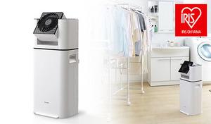 パワフルな風と除湿機のヒーターの熱を利用して、室内干しの洗濯物をすばやく乾燥。洗濯物の量に合わせて、風の向きや角度の設定が可能《サーキュレーター衣類乾燥除湿機 DDD-50E》