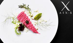 【本場三ツ星店出身のシェフが贈る】世界的な美食ガイド『ゴ・エ・ミヨ』掲載実力派フレンチ。季節の食材をオリジナリティあふれる色彩感覚で印象的な一皿に《AIX:Sシェフおまかせディナーコース》