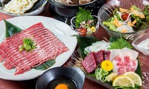 熊本直送の新鮮な馬肉。とろける旨味を鍋と刺しで贅沢に≪特選馬刺・桜鍋コース7品(お通し+サービス料込)≫ @馬肉ダイニング 天馬