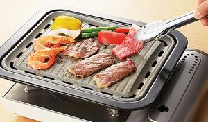 【61%OFF】ストーンマーブル加工が施された、焦げつきにくい焼肉グリル。お肉などの余分な脂を落としてヘルシーに焼き上げる《ストーンズ角型焼肉グリル 34×29cm》