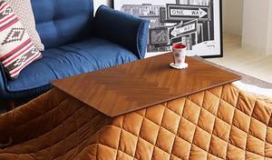 【70%OFF/送料込み】お洒落なヘリンボーン調のウォールナット突板を天板に使用。こたつ布団を外せばカフェテーブルとしても使用できオールシーズン使える《こたつテーブル マルクス 90×60cm》