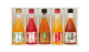 【送料込み】完熟南高梅で漬け込んだ人気の梅酒5銘柄が、一度に味わえる《梅酒のみくらべセット》