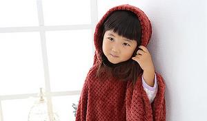 【54%OFF/4色展開】蓄熱繊維使用でポカポカの着心地を堪能。お子様の体をやさしく包み込む、愛らしいフード付きキッズポンチョ《フランネル・鹿の子織キッズポンチョ【Blanko/ブランコ】》