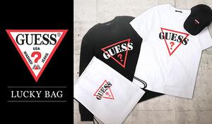 【ユニセックスタイプ】「GUESS」のロゴマークがワンポイント。クールなブラックスウェットシャツと、爽やかなホワイトTシャツ、スタイリングしやすいブラックキャップの3点セット《LUCKY BAG by GUESS》