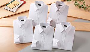 【5サイズ展開】「男性に着て欲しいワイシャツ」を女性目線でピックアップ。清潔感あふれる好印象な大人の紳士スタイルに決まる《銀座・丸の内のOL100人(R)が選んだワイシャツ5枚組 (ホワイト系)》