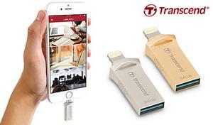 【62%OFF/2色展開】iPhoneなどの容量不足を解消する、ミニサイズの外付けメモリ。テレビ番組や映画を保存して、移動中や外出先で視聴することも可能《JetDrive Go 500 64GB TS64GJDG500》