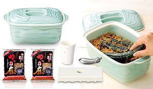 冷蔵庫で簡単においしいぬか漬けが作れるスターターセット。上品な青磁の容器にぬか床と湯冷まし水を混ぜ入れて、野菜となす鉄を入れるだけ《冷蔵庫で作る自家製ぬか漬けスターターセット》