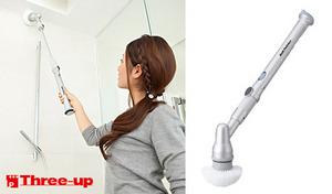 【50%OFF】お風呂場の壁・天井・浴槽内。腰を曲げずに隅々までラクラクお掃除《充電式バスポリッシャー》場所にあわせてスティック&ハンディー使い分け
