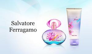 フレッシュでフルーティな香りを存分に楽しめる。フレグランスと同じ香りのボディローションもセットで《フェラガモ インカントセット》