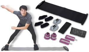 スライドスケート運動で下半身トレーニングができる「スライドボードコア」と、手首・足首に装着して筋力アップを目指す「リストアンクルウェイト」を使って効率よくトレーニング《体幹トレーニングセット》