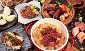 和牛肉のローストを含む全8品+飲み放題120分|30枚まで利用可|炭火バルうぉにく|大阪市北区 東梅田駅