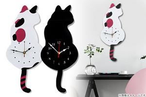 【2,580円】≪☆送料無料☆振り子になっているしっぽがフリフリ♪時計をチェックするたび癒されるキュートなネコちゃんモチーフの時計です★インテリアのアクセントにどうぞ「振り子猫時計」≫