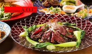 【10%OFF】麻布十番でアジアの風を≪牛ハラミのレアステーキ・ガパオライスなど全9品+飲み放題120分 / 1名分 or 2名分 or 3名分≫ @Asian Cuisine A.O.C.