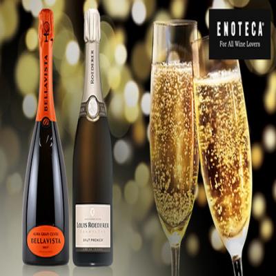 【送料込み】厳選のされた美泡酒を、2本セットでお届け。特別な日の乾杯にも最適な、贅沢でエレガントな味わい《ENOTECA厳選 シャンパン&フランチャコルタ フランス・イタリア最高峰の美泡を味わう2本セット》