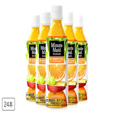【訳あり/送料込み】フルーツそのものの芳醇な味わいを楽しめる。濃縮還元果汁100%の本物のおいしさ《ミニッツメイド 朝の健康果実 オレンジ・ブレンド 350mL×24本》賞味期限が2019年10月11日までと短め