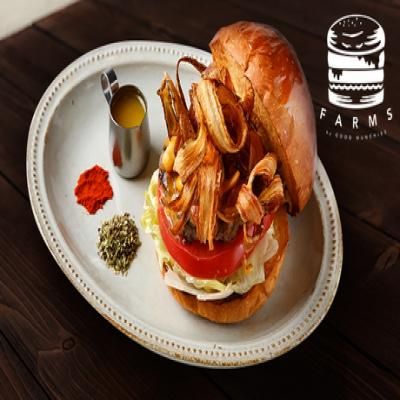 【NEW OPEN/予約不要】史上最高の油と呼ばれる「自家製ギー」使用。肉汁旨味あふれる本格グルメバーガーに舌鼓《ハンバーガー or パンケーキ or フレンチトースト+サイドメニュー+ドリンク1杯》テイクアウト可
