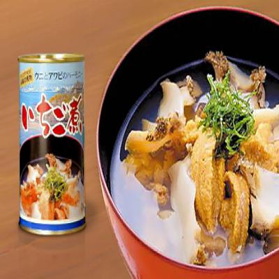 ウニとアワビの濃厚なうま味が食欲を刺激。そのままスープはもちろん、炊き込みご飯やパスタなどの味付けにも活躍《味の海翁堂 ウニとアワビのいちご煮(缶) 415g》