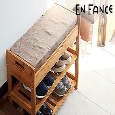 スリッパやよく履く靴の収納にピッタリ。玄関先でのちょい掛けや荷物を置いたりする時に便利な座面付き《座れる竹製スリッパラック》