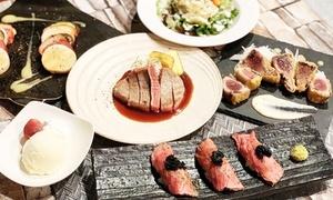 牛ランプステーキや自家製ローストビーフのキャビア肉寿司など全6品+飲み放題120分|2・3・4名分から選択可|鉄板焼 やまと|大阪市中央区 なんば駅