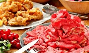 食べ放題ランチ(牧草牛のローストビーフ&ハーブチキンフリット&ロイヤルポークのローストポーク)お惣菜ビュッフェ付き