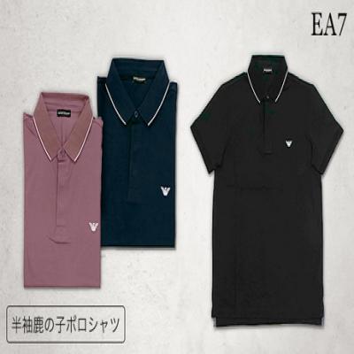 【EA7/3色展開】左胸のロゴマークがワンポイントを添える上品かつスポーティーなルックスの1枚。タウンユースやラフなスーツスタイルなど幅広いスタイルにマッチ《半袖鹿の子ポロシャツ》